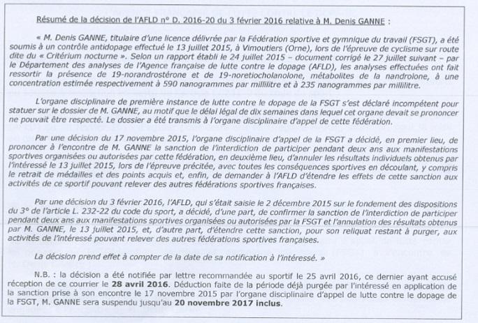 Résumé Décision AFLD Denis Ganne